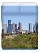 Houston Skyline And Buffalo Bayou Duvet Cover