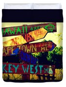 How Far Is It To Key West Duvet Cover