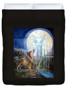 Wolf Howling And Full Moon Duvet Cover