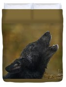 Howling Gray Wolf Pup Endangered Species Wildlife Rescue Duvet Cover
