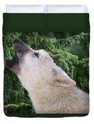 Howlling Arctic Wolf Pup Endangered Species Wildlife Rescue Duvet Cover