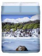 Hraunfossar Iceland Duvet Cover