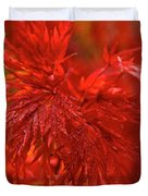 Hubble Galaxy With Red Maple Foliage Duvet Cover