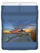Hudson River Fiery Sky Duvet Cover