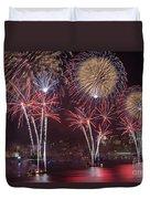Hudson River Fireworks Viii Duvet Cover by Clarence Holmes