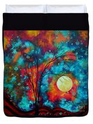 Huge Colorful Abstract Landscape Art Circles Tree Original Painting Delightful By Madart Duvet Cover