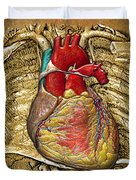 Human Heart Over Vintage Chart Of An Open Chest Cavity Duvet Cover