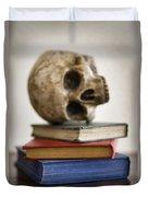 Human Skull And Books Duvet Cover