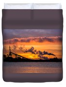 Humboldt Bay Industry At Sunset Duvet Cover