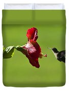 Hummer At The Hibiscus Duvet Cover