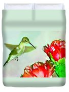 Humming Bird And Cactus Flowers Duvet Cover