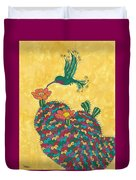 Hummingbird And Prickly Pear Duvet Cover