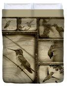 Hummingbird Family Portraits Duvet Cover
