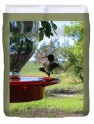 Hummingbird Flying To The Feeder Duvet Cover