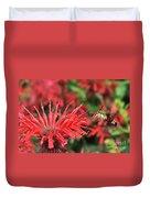 Hummingbird Moth Feeding On Red Flower Duvet Cover