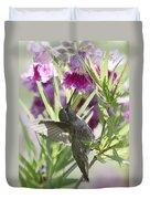 Hummingbird On A Desert Willow Duvet Cover
