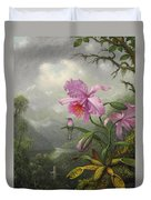 Hummingbird Perched On The Orchid Plant Duvet Cover