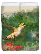 Hummingbird - Watercolor Art Duvet Cover