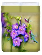 Hummingbirds Butterflies And Flowers Duvet Cover