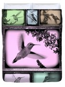Hummingbirds In Old Frames Collage Duvet Cover