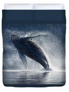 Humpback Whale Breaching In The Waters Duvet Cover by John Hyde