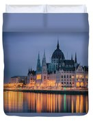 Hungarian Parliament Dawn Duvet Cover