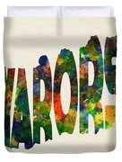 Hungary Typographic Watercolor Map Duvet Cover by Inspirowl Design