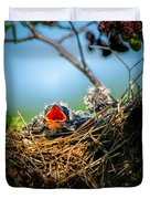 Hungry Tree Swallow Fledgling In Nest Duvet Cover