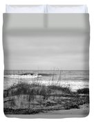 Hunting Island Beach In Black And White Duvet Cover