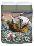Hunting Sea Creatures Duvet Cover by Jan Collaert