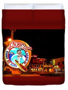 Huntington Beach Downtown Nightside 2 Duvet Cover by Jim Carrell