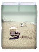 Huntington Beach Lifeguard Tower #1 Vintage Picture Duvet Cover