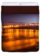 Huntington Beach Pier At Night Duvet Cover