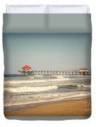 Huntington Beach Pier Retro Toned Photo Duvet Cover by Paul Velgos