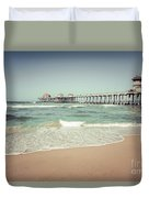 Huntington Beach Pier Vintage Toned Photo Duvet Cover by Paul Velgos