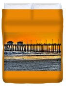 Huntington Beach Sunset Duvet Cover by Jim Carrell