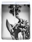 Huntington Beach Surfer Statue Black And White Picture Duvet Cover by Paul Velgos