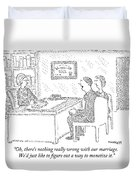 Husband And Wife Sitting At The Desk Duvet Cover