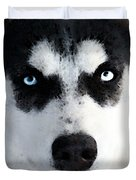 Husky Dog Art - Bat Man Duvet Cover