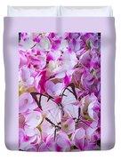 Hydrangea With Bright White Butterfly Duvet Cover