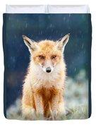 I Can't Stand The Rain  Fox In A Rain Shower Duvet Cover