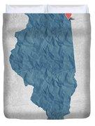 I Love Chicago Illinois - Blue Duvet Cover