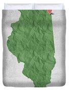 I Love Chicago Illinois - Green Duvet Cover