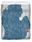 I Love Detroit Michigan - Blue Duvet Cover