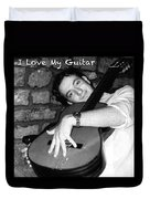 I Love My Guitar Series Bw Duvet Cover
