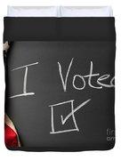 I Voted Sign On Chalkboard Duvet Cover