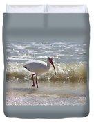 Ibis Walking The Beach Duvet Cover