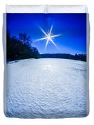 Ice And Snow Frozen Over Lake On Sunny Day Duvet Cover