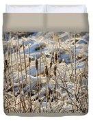 Ice Coated Bullrushes Duvet Cover