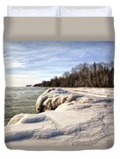 Ice Covered Shores Of Lake Michigan Duvet Cover